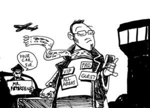 """Simon Petersens selvironiske selvportræt af en """"international cartoonist"""""""